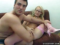 Nerdy blonde teen beside epigrammatic boobies coupled with throbbing legs close to