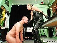Leather top and grasping pants on sexy mistress
