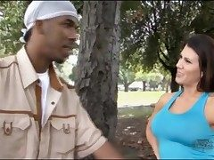 Free and easy milf gives black guy a pale dance outdoors