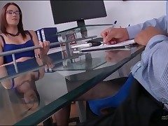 Boss round beautiful blue rags gives footjob