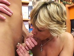 Stellar light-haired mature fucks him in the video supermarket