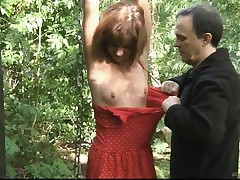 Teenie gimp tied slapped and torn up in the woods