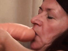 Granny loves ravaging her big fucktoy and showcase it all